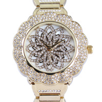 Christmas Party 2014 Trendy Famous Brand Flower-shaped Watch AAA Rhinestones Free Shipping Limited Edition