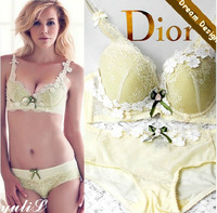 2014 New Arrival Adjustable Push Up Applique Sexy Bra Set Underwear, Flower B.C Cup Luxurious Lace and Satin Set