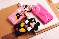 Free shipping 3D Mickey/Pig Cartoon Family Soft Silicone Case Back Cover for iPhone 5 5G