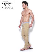 Igogo 2013ecaful elastic deerskin corduroy color block decoration thread lacing casual trousers
