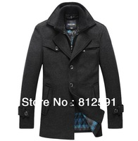 MENS Wool Autumn Winter Long Windbreak Thickened with Silk Cotton Jacket