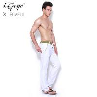 Igogo 2013ecaful fluid fabric color block comfortable lacing sports casual trousers