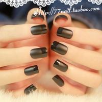 Hot-selling high quality dull polish french false nails, elegant black finger fake nail, short design full cover nail tips