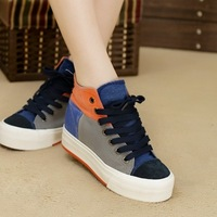 2013 autumn elite high platform shoes female fashion color block decoration canvas shoes female lacing skateboarding shoes