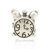 50PCs Tibetan Silver Tone Alarm Clock Pattern Bail Alloy Beads 10mmx11mmx7.5mm 152301