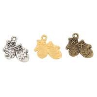 MIN Order(mix 10$)Tibetan Silver/Bronze Plated/Gold Plated(140PCS)Christmas gloves Charms(2718#)18*19mm