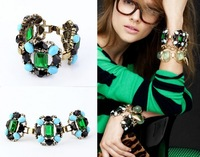 High Quality 2013 New Design Vintage Big Green Crystal Gem Bracelet Rhinestone Bracelet For Women Length 17cm
