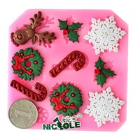 Nicole silica gel mould christmas elk sugar cake tools sugar cake mould chocolate