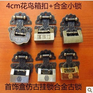 Padlock + bird box buckle vintage jewelry box lock lock open padlock alloy cross small lock padlock antique locks