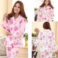 Free Shipping!!!Best Selling  2013 Cute Winter Pyjamas Set  Lovely Nightdress Flannel Print  Soft Fleece  Nightgown Women