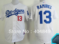AA+ 13 multi type Hanley Ramirez jersey,Dodgers white gray blue authentic,women youth custom baseball free shipping