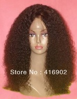 new fashion  Human Hair  Lace front Wig afro curly 1b# natural black  100% Indian Remy Human hair Lace Front Wigs / cap