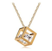 CCN335 Creative Hollow Out  Rubik's Cube Square Shape Pendants Necklace Big Shining 3D Crystal Heart Necklace