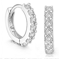 free shipping 925 pure silver earring female inlaying gem fashion earrings silver jewelry