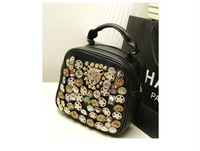 FREE SHIPPING 1PCS Fashion Punk Rivet Button Leopard Head Backpacks Should Bag Handbag #23427