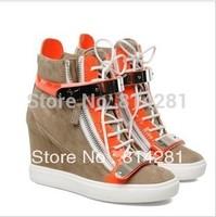 2013  high top platform wedge sneakers women brand designer height increasing metal shoes