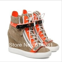 2013 GZ high top platform wedge sneakers women brand designer height increasing metal shoes