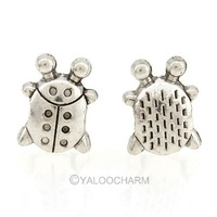 50PCs Tibetan Silver Tone Beetle Pattern Bail Alloy Beads 11mmx14mmx8mm 152303