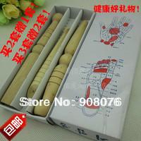 Solid wood massage stick  Acupuncture Foot Reflexology beauty bar 3pcs/set Free shipping
