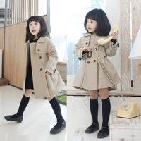 2013 Girls Khaki Double-Breasted Trench Long Sleeve Coat Wind Jacket Outwear 4-8Y