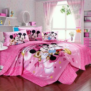 Menina rosa mickey minnie mouse jogos de cama designer algodão dupla completa edredons king size cama em um saco roupas de cama consolador definir