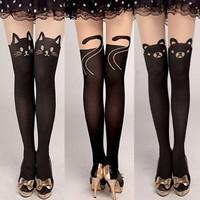 Sexy Women Cute Cat Bear Mock Knee High Hosiery Pantyhose Tattoo Tights