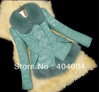 Free shipping New Thick Winter Coat Slim Leather clothing 3XL ,genuine leather down coat fox fur Jacket+vest fashion outerwear