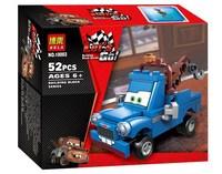 Cartoon Cars Blue Mater Bela 10003 52pcs building blocks 3D DIY assembling educational toys; Compatible with LEGO;Free shipping