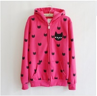 hot style black lovly cat printed zipper with hoody women's hoodies winter warm jacket mei red loose thick style free