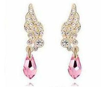 MIN MIX ORDER $10  New FULLrhinestone/CZ diamond crystal wings drop earrings women's earrings  free shipping
