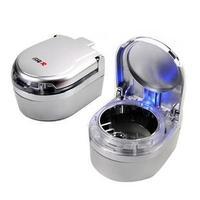 retail free shipping quality portable cigarette ashtray blue light-emitting lighted led car ashtray with LED lighting