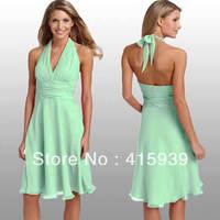 Free shipping!Simple cheap halter mint chiffon bridesmaid dresses brides maid dresses BN048