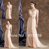 Cheap elegant v neck beaded chiffon long mother of the bride dresses MQ029