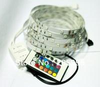 5M 150Led SMD 5050 RGB led Strip Light Flexible IP20 + 24key Remote + 12V Transformer For Home Decoration Freeshipping