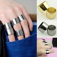 Min Order $18(Can Mix Item)Vintage Womens Metallic Base Metal Mirrored Polished Wide Knuckle Ring 3colors