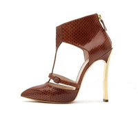 Free Shipping Ladies Shoes 2014 Genuine Leather Fashion New 10cm High Heels Women Sandals Wholesale, Hot