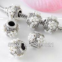 Wholesale - 100pcs White Imitate Faux Pearl Barrel Silvery European Bead Fit Charms Bracelet