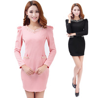 Slim hip princess sleeve diamond zipper long-sleeve women's slim autumn beading puff sleeve short skirt one-piece dress