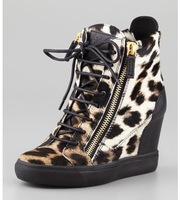 women shoes Leopard-print dyed calf hair Wedge Sneaker  Smooth leather trim at heel Back zip Lace-up front with side zips