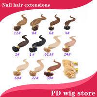 "New 18""20""22"" 100pcs 50g Straight Remy Real Nail Tip U Tip Human Hair Extension 60#darkest brown mix blonde color"