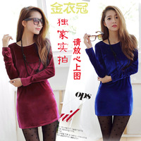 1017 autumn gold brief slim solid color long-sleeve basic pleuche dress one-piece skirt