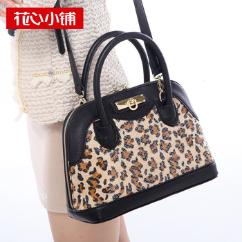 - 2013 autumn leopard print shell bag color block one shoulder cross-body handbag female bags - 10569