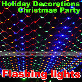 10pcs/lot holiday light1.5x1.5 m net lights lLED Carnivals Flashing Christmas Wedding Party Garden Lamps Waterproof Flash Lights