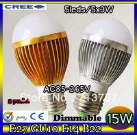 50% off Factory diectly sale 5pcs/lot led Bubble Ball Bulb globe bulb E27 GU10 B22 E14 15W AC85-265V led Globe Light Bulb Lamp