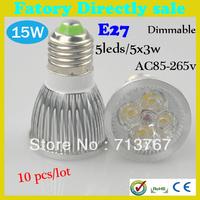 50% off Factory directly sale 10pcs/lot CREE Bulb led spotlight bulb E27 15w 5x3W 85-265V Dimmable led Light lamp  free shipping