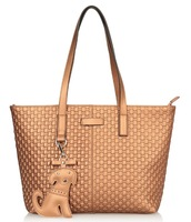 ladies's PEARL EMBOSSED BIG LEATHER TOTE casual shoulder bag