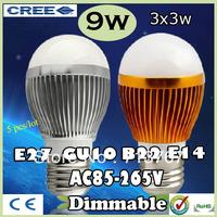 50% off Factory diectly sale 5pcs/lot led Bubble Ball Bulb globe bulb E27 GU10 B22 E14 9W AC85-265V led Globe Bulb Lamp Lighting