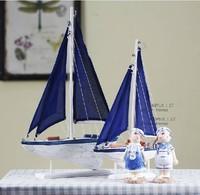 Zakka fashion Small wool blue sailing boat home decoration gift