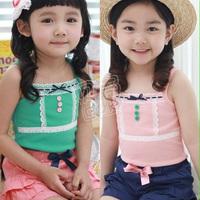 2013 summer gentlewomen laciness girls clothing baby sleeveless T-shirt spaghetti strap vest tx-0994