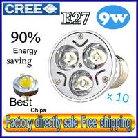 50% off Factory directly sale 10pcs/lot CREE Bulb led bulb E27 9w 3x3W 110V 220V Dimmable led Light lamp spotlight free shipping